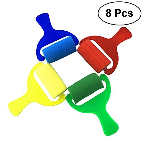 BESTONZON 8Pcs Paint Roller,Mini Painting Foam Sponge Brush Tools, Sponge Paint Rollers for Kids Painting Learning