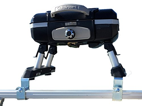 Extreme Marine Products Cuisinart Grill Modified for Pontoon Boat with Arnall's Grill Bracket Set BLACK