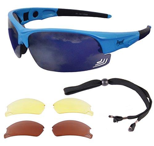 Edge Blue SUNGLASSES FOR PILOTS With Interchangeable - Blocking Best Glasses Uk Light Blue