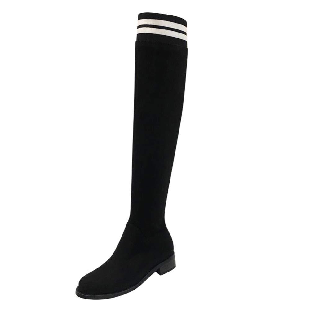 Adultsys Stiefel Weibliches Ofenrohr Über Dem Knie Stretch Stiefel Runde Kopf Niedrige Ferse Flache Weibliche Lange Stiefel Damenschuhe
