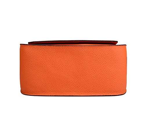Orange With Satchel Women's Ainifeel Silver Genuine Bag Messenger Padlock Hardware Leather v6604wq