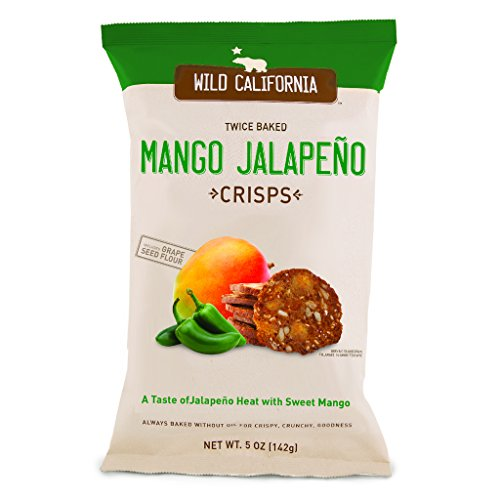 Twice Baked Crisps by Wild California Crisps, Mango Jalapeno Crisps - Twice Baked Without Oils and Made From Grape Seed Flour (5 Ounce Bags, Pack of 8) ()