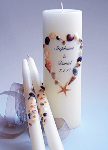 Sea Shell Wedding Unity Candles - Heart (Beach Taper Candles)