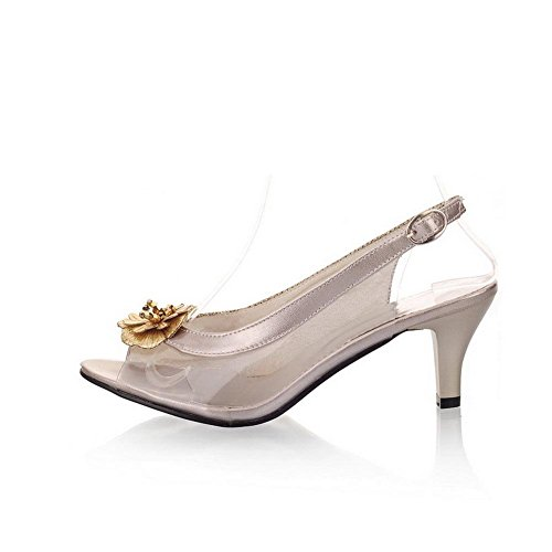 AllhqFashion Mujetes Peep Hebilla Tachonado Tacón de aguja Sandalias de vestir con Floriation Gold