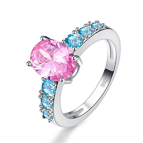 Veunora Women's 925 Sterling Silver Created 7x9mm Pink Topaz Filled Promise Wedding Ring Size 7 ()