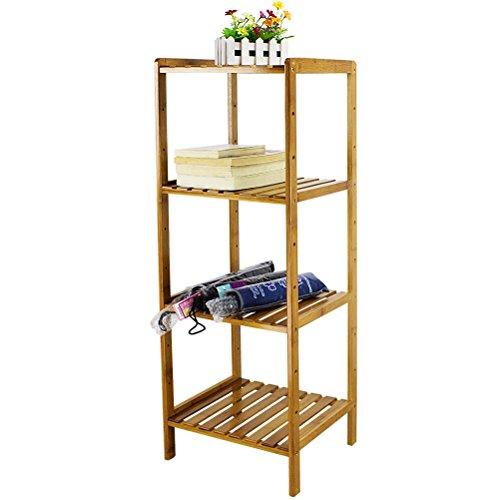 HBlife 4-Tier Shelving Unit Bathroom Shelves Bamboo Standing Towels Rack Corner Shelf Multifunctional Storage Organizer by HBlife