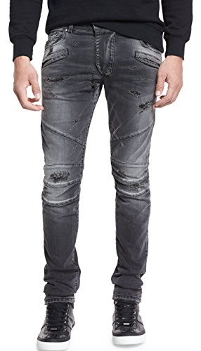 Pierre Balmain Distressed Slim-Fit Biker Jeans, Black Distressed (33W x - Sale Men Balmain