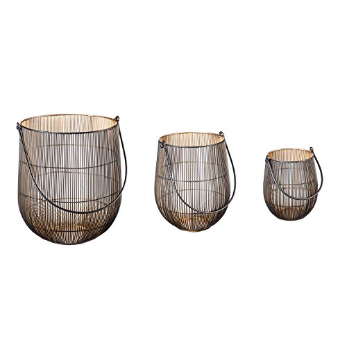(Cape Craftsmen Oversized Contemporary Indoor Mesh Lanterns with Black Handles, Set of 3 in Varying Sizes)