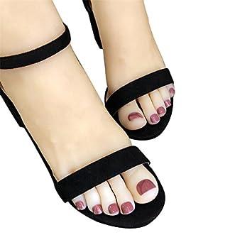 Amazon Com 24pcs Short Square False Toe Nails Solid Color Feet