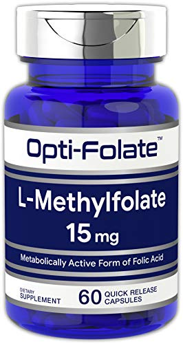 Opti-Folate L-Methylfolate 15 mg (60 Capsules) | Optimized and Activated | Max Potency | Non-GMO, Gluten Free | Methyl Folate, 5-MTHF