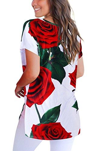 bianco T Corta Magliette V 00 Donna Manica Con Basic shirt A Scollo Dasbayla Tee XFOq6x