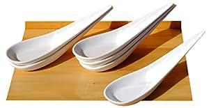 Canapé cucharas Flecha mango LONG X 6 blanco