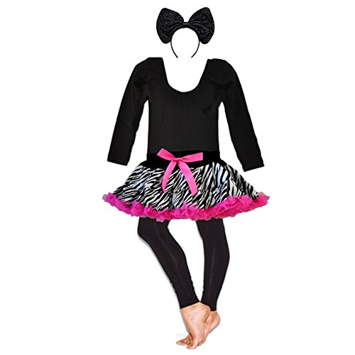 Halloween Leopard - Zebra Exotic Theme Party 4 Pieces Long Sleeve Costumes Set (Small Age 1-2, -
