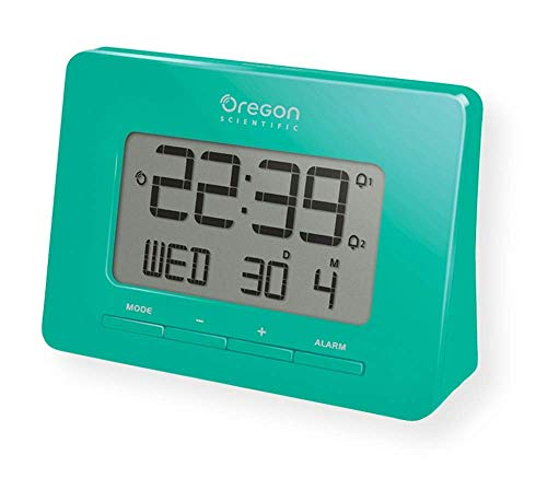 Oregon Scientific RM938_GR Model RM938 Atomic Alarm Clock, Dual Alarm, Time Calendar, and Snooze Functions, Green