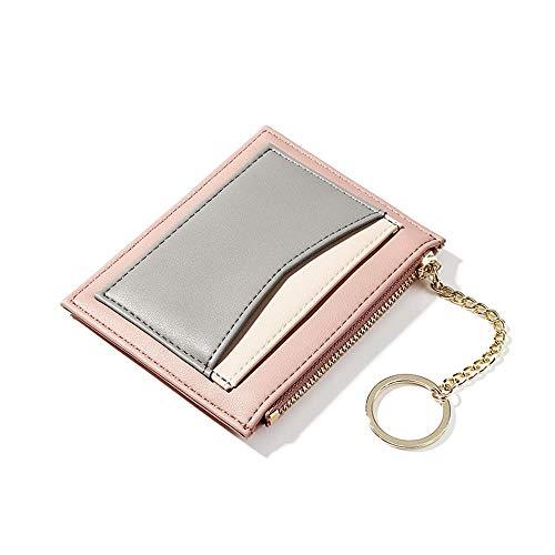 Womens small wallets Slim Minimalist Credit Card Holder Pocket Wallet Zipper Coin Purse Ladies Mini Purse (A-Pink) (Coin Card Holder Purse)