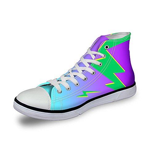Para U Diseños Elegante Lightning Print Mujeres High Top Lace Up Moda Sneaker Purple