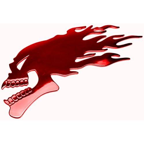 PRESKIN - 3D flamme crâne rouge autocollants brillant Chrome autocollant en optique métal pour voiture,vélo, frigo, moto, scooter, ordinateur portable, porte, réfrigérateur ...