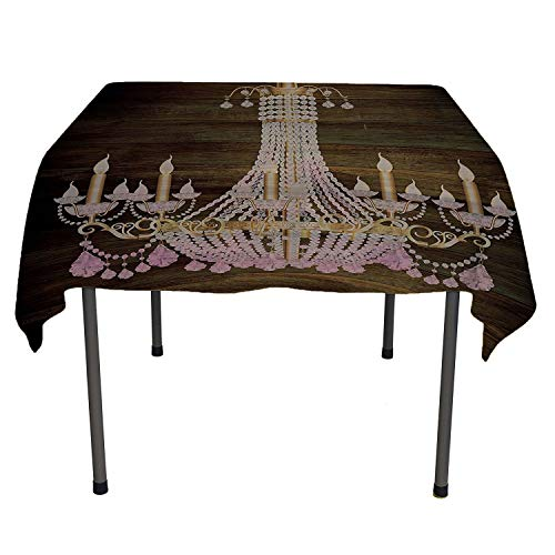 - Rustic Wooden Polyester Tablecloth Planks Crystal Chandelier Fashionable Textile Modern Special Collection Decorative Item Elegant Decor speing Table Cloth Spring/Summer/Party/Picnic 60 by 84