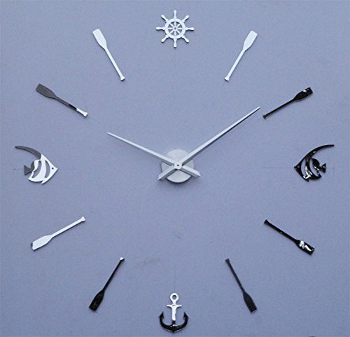 Anchor Fish Time Hours Silver Color Fashion Large Size Modern DIY Frameless Quartz 3D Mirror Effect Wall Clock Oversized Clock Watches Home Decoration Living Room Décor Wall Sticker Creative Art Decor