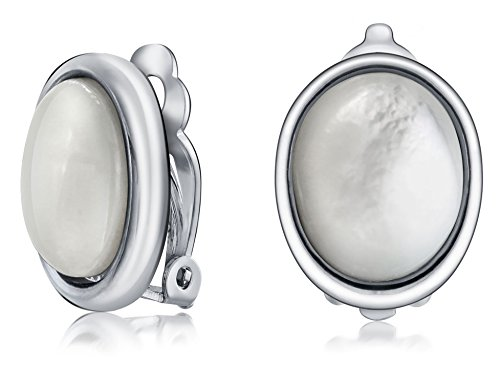 (Basic Oval White MOP Bezel Set Dome Button Style Clip On Earrings For Women Non Pierced Ears Silver Plated Brass)