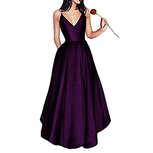 Bonnie Womens V-Neck Homecoming Dress 2017 Long Spaghetti Straps Satin Prom Party Dresses With Pockets BS037, Plum, Size 4