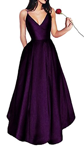 Bonnie_Shop Bonnie Women's V-Neck Homecoming Dress 2017 Long Spaghetti Straps Satin Prom Party Dresses With Pockets BS037