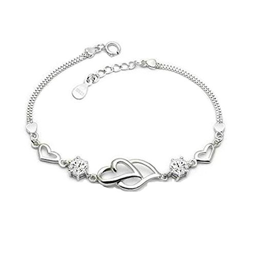 cf431c13fd1093 925 Sterling Silver Bracelet for Women Crystal Heart Fashion Hand Chain  Bracelets for Girls - Buy Online in UAE. | Jewelry Products in the UAE -  See Prices, ...