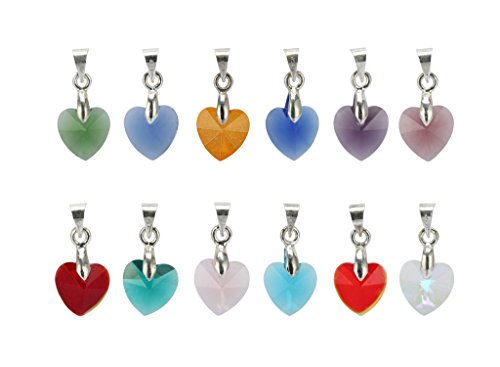 1 Set x Birthstone Dangle Charms 10mm Heart-Shaped Crystal Charms with Pendant Bail (12 birthstone charms) - Charm Necklace Holiday