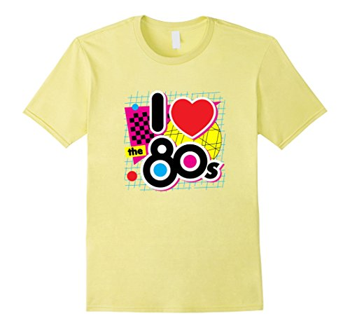 Mens 80s Love I Heart the Eighties Retro Graphic T-Shirt 2XL Lemon (I Heart The 80s T Shirt)