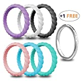 USEVEN Silicone Wedding Ring for Women, 6+1 Value Pack, Delicate Rubber Wedding Ring for Women, Comfortable and Durable
