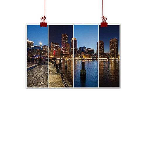(Decorative Music Urban Graffiti Art Print American,Boston Skyline Day and Night Cityscape Skyscraper Reflection in Water Metropolis,Multicolor 24