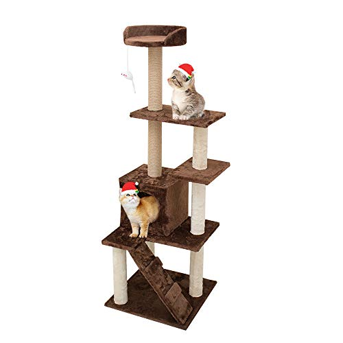 KORIMEFA Cat Tree Cat Tower with Natural Sisal Scratching Post for Kitten Small Cats Activity Platform Playground…