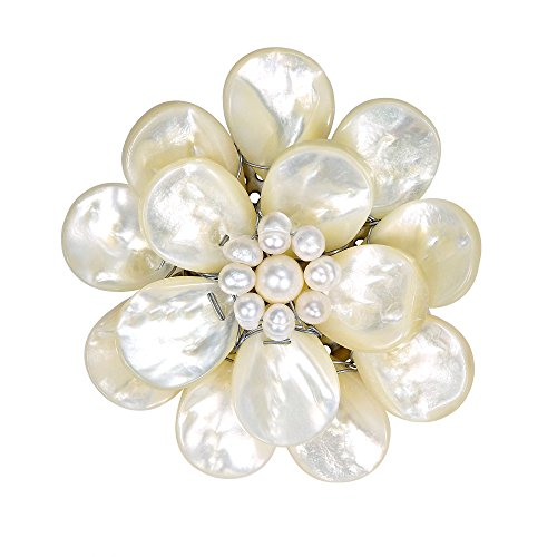 AeraVida Pure Lotus White Mother of Pearl & Cultured Freshwater White Pearl Floral Pin or ()
