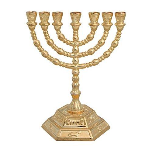 - Decorative Menorah , Menora 7 Branch Jewish Israel Holy Land Jerusalem.12 Tribes Design-gold Color 5 by Bethlehem Gifts TM