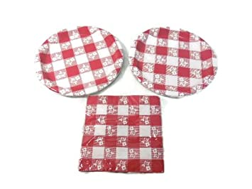 Creative Converting Party Creations Red Gingham Paper Plates and Napkins Enough for 16 Guests  sc 1 st  Amazon.com & Amazon.com: Creative Converting Party Creations Red Gingham Paper ...