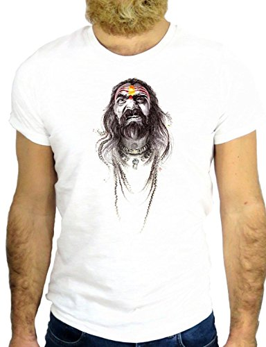T SHIRT Z0644 VINTAGE INDIAN HAPACHE APACHE COOL VINTAGE ROCK NICE ADVENTURE GGG24 BIANCA - WHITE XL