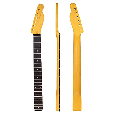 Kmise 22 Frets Maple Electric Guitar Neck for Fender Tele Telecaster Parts Replacement (Rosewood Fretboard (Electric Guitar Neck Replacement)