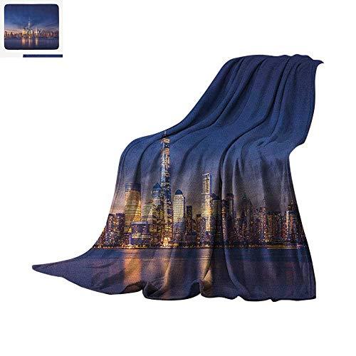 City Custom Design Cozy Flannel Blanket New York Skyline Manhattan After Sunset Metropolis Downtown Urban Panorama USA Digital Printing Blanket 60