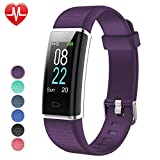 YAMAY Fitness Tracker with Heart Rate Monitor, Fitness Watch Activity Tracker Smart Watch with Sleep Monitor 14 Sports Mode,Pedometer Watch for Kids Men Women (Color Screen,IP68 Waterproof) (Purple)
