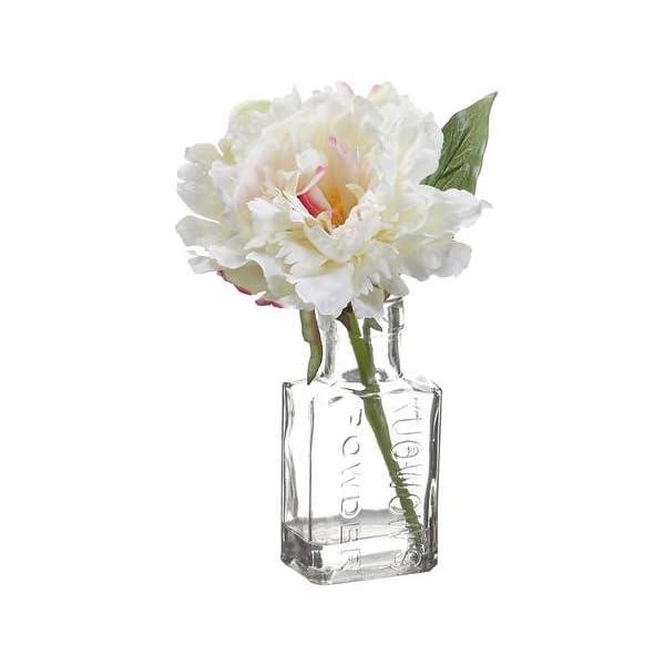 Afloral Cream Pink Peony Silk Flower Arrangement in Vase – 8″ Tall