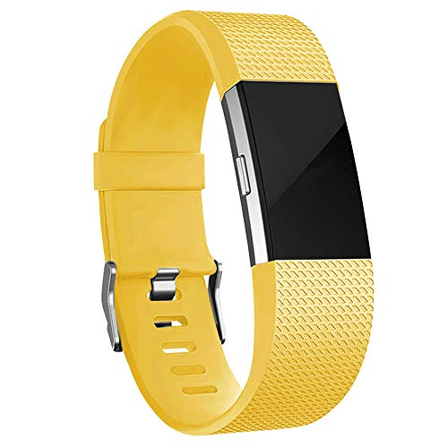 iGK Replacement Bands Compatible for Fitbit Charge 2, Adjustable Replacement Bands with Metal Clasp Classic Edition Lemon-Yellow Large
