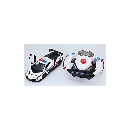 Top Race Remote Control RC Police Car Tr-911, 4D Motion Gravity and Steering Wheel Control, 1:12 Scale, 2.4Ghz, with Lights, Sirens, Powered Doors, Toys, Toy Cars