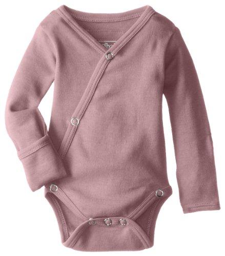 (L'ovedbaby Unisex-Baby Organic Cotton Kimono Long Sleeve Bodysuit, Mauve, 3/6 Months)