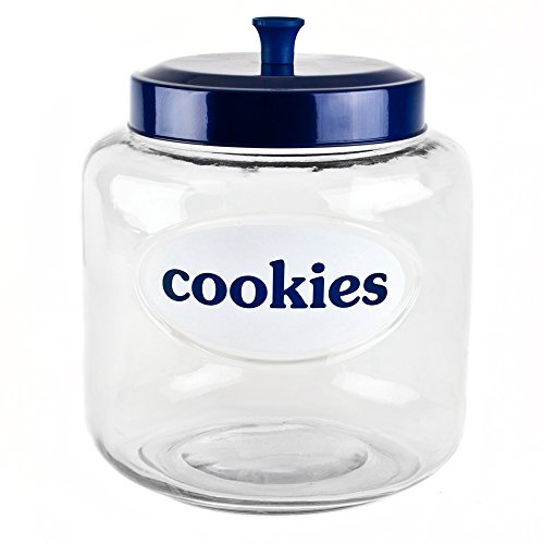 Blue Harbor Glass 4.75 Quart Cookie Jar with Blue Lid ()