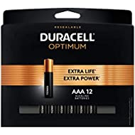 Duracell Optimum AAA Batteries | 12 Count Pack | Lasting Power Triple A Battery | Alkaline AAA Battery Ideal for Household and Office Devices | Resealable Package for Storage
