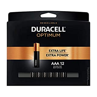 Duracell Optimum AAA Batteries | Premium Triple A 1.5V Alkaline Battery | Convenient, Resealable Package | Made in The USA | 12 Count