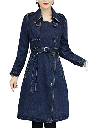Flygo Women's Casual Double Breasted Belted Long Denim Jean Trench Coat Jacket (Medium, Blue)