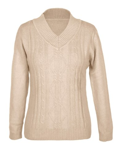 G2 Chic Women's Diamond Cable Knit V-Neck Sweater(TOP-SWT,LBN-SMALL)