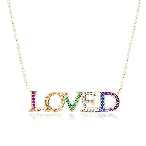 Lesa Michele Rainbow Multi-Color Cubic Zirconia Loved Necklace in Rose Gold Plated Sterling Silver - Michele Green Necklace