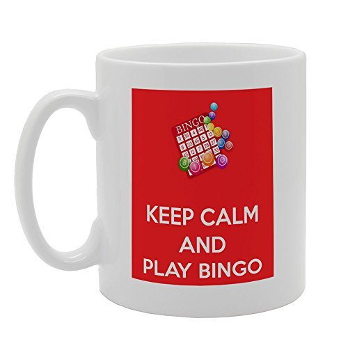 Keep Calm And Play Bingo Best Funny Gifts Sarcastic Mug Present 11oz Daughter Coffee Mug for Mom and Dad Funny Coffee Mugs Ceramic Gift Coffee Tea Cocoa Coffee Cup